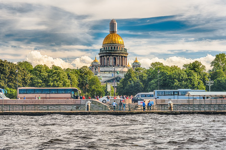 ST. PETERSBURG, RUSSIA - AUGUST 27: Dome of Saint Isaacs Cathedral as seen from the Neva River in St. Petersburg, Russia on August 27, 2016