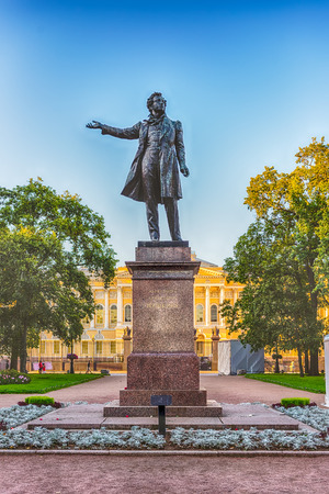 poet: Monument to the great russian poet Alexander Pushkin on Arts Square, St Petersburg, Russia