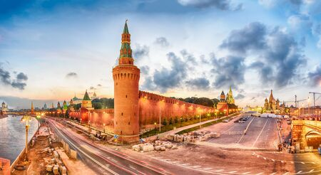 Panoramic view of the Red Square, St. Basils Cathedral, Kremlin walls and Moskva River during the blue hour at dusk, Moscow, Russia