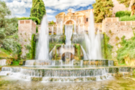 borne fontaine: Defocused background of Fountain of Neptune, Villa dEste, Tivoli, Italy. Intentionally blurred post production for bokeh effect