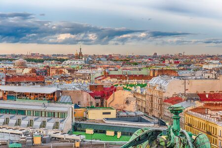 Panoramic aerial view over St. Petersburg, Russia, from the dome of St. Isaacs Cathedral