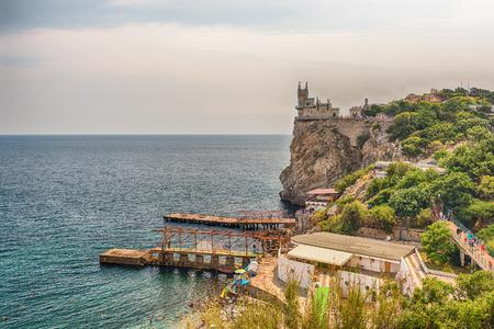 Swallows nest, scenic castle and iconic landmark over the Black Sea in Yalta, Crimea