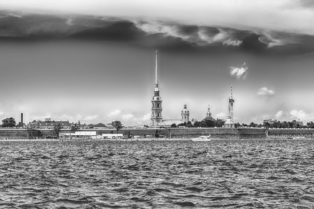 View of the Peter and Paul Fortress across the Neva River, iconic landmark in St. Petersburg, Russia Editorial