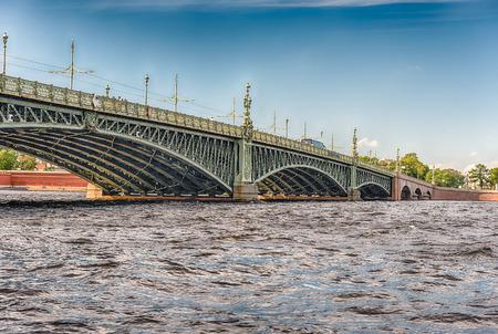 View over the scenic Trinity Bridge on the Neva River, Landmark of Art Nouveau Design in St. Petersburg, Russia Stock Photo