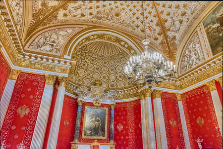 ST. PETERSBURG, RUSSIA - AUGUST 27: Small Throne Hall, interior of the State Hermitage (Winter Palace) in St. Petersburg, Russia, August 27, 2016. Hermitage is one of the largest and oldest museums of art and culture in the world Editorial