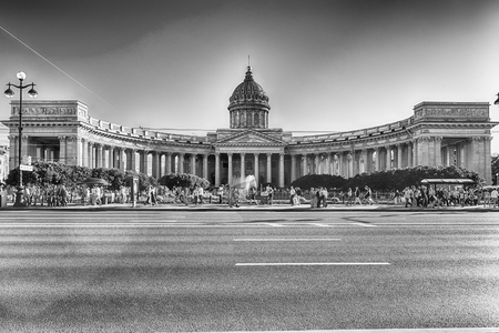 sobor: The iconic facade and colonnade of Kazan Cathedral, one of the main citysights in St. Petersburg, Russia