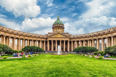 ST. PETERSBURG, RUSSIA - AUGUST 26: Kazan Cathedral in St.Petersburg, Russia, on August 26, 2016. It was modelled by Andrey Voronikhin after the St. Peters Basilica in Rome Editorial