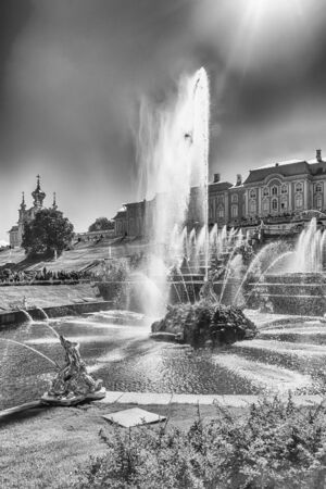 PETERHOF, RUSSIA - AUGUST 28: Scenic view of the Grand Cascade,  Peterhof Palace, Russia, on August 28, 2016. The Peterhof Palace and Gardens complex is recognized as a UNESCO World Heritage Site