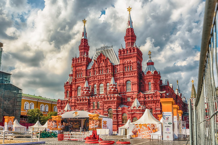 spasskaya: MOSCOW - AUGUST 22, 2016: The State Historical Museum, as seen during the settings for the Military Music Festival Spasskaya Tower, taking place every year in Red Square, Moscow