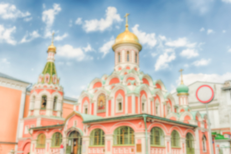 Defocused background Kazan Cathedral in Red Square, Moscow, Russia. Intentionally blurred post production for bokeh effect Stock Photo