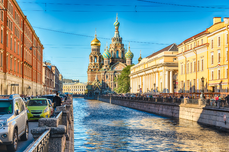 Scenic view of the Church of the Savior on Spilled Blood over the Griboyedov Canal Embankment. Iconic landmark in St. Petersburg, Russia Stock Photo