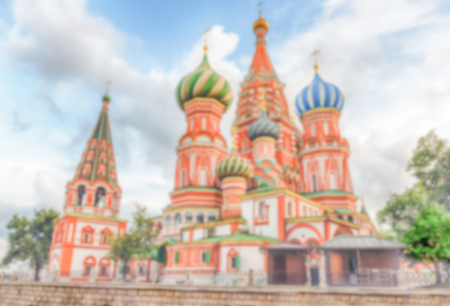 Defocused background of St. Basils Cathedral in central Moscow, Russia. Intentionally blurred post production for bokeh effect
