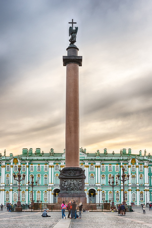 ST. PETERSBURG, RUSSIA - AUGUST 28: Alexander Column and the facade of the Winter Palace, house of the Hermitage Museum in St. Petersburg, Russia on August 28, 2016