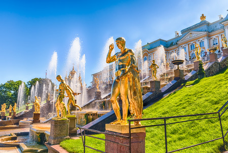peter the great: PETERHOF, RUSSIA - AUGUST 28: Scenic view of the Grand Cascade,  Peterhof Palace, Russia, on August 28, 2016. The Peterhof Palace and Gardens complex is recognized as a UNESCO World Heritage Site