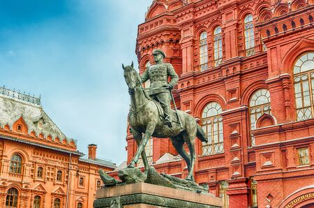 Marshal Zhukov statue outside the State Historical Museum, iconic landmark in central Moscow, Russia
