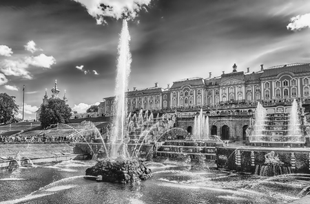 spurt: PETERHOF, RUSSIA - AUGUST 28: Scenic view of the Grand Cascade,  Peterhof Palace, Russia, on August 28, 2016. The Peterhof Palace and Gardens complex is recognized as a UNESCO World Heritage Site