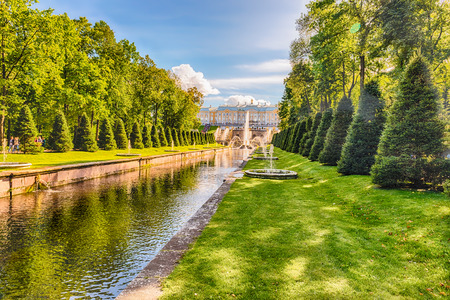 peter the great: PETERHOF, RUSSIA - AUGUST 28: Scenic view over the Sea Channel in Peterhof Gardens, Russia, on August 28, 2016. The Peterhof Palace and Gardens complex is recognized as a UNESCO World Heritage Site