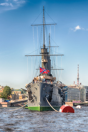 ST. PETERSBURG, RUSSIA - AUGUST 27: View of the Russian cruiser Aurora, currently preserved as a museum ship, moored on the Neva River in St. Petersburg, Russia, August 27, 2016. Editorial