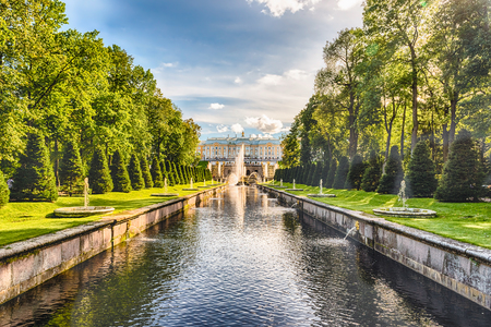 peter the great: PETERHOF, RUSSIA - AUGUST 28: Scenic view over Peterhof Palace, Grand Cascade and Sea Channel, Russia, on August 28, 2016. The Peterhof Palace and Gardens complex is recognized as a UNESCO World Heritage Site Editorial