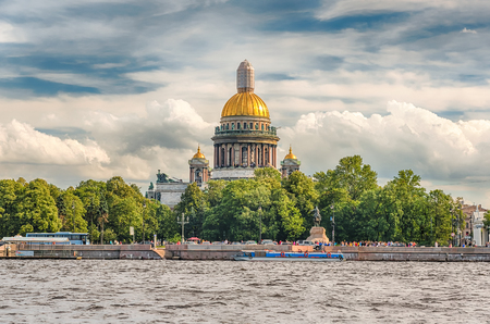 The scenic Dome of Saint Isaacs Cathedral, as seen from Neva River, St. Petersburg, Russia