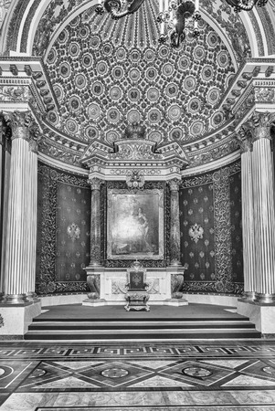 ST. PETERSBURG, RUSSIA - AUGUST 27: Small Throne Hall, interior of the State Hermitage (Winter Palace) in St. Petersburg, Russia, August 27, 2016. Hermitage is one of the largest and oldest museums of art and culture in the world Editoriali