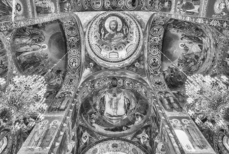 Intérieur de l'église du Sauveur sur le Sang de Saint-Pétersbourg, Russie Éditoriale