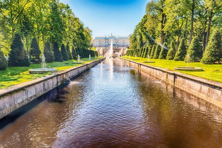 PETERHOF, RUSSIA - AUGUST 28: Scenic view over Peterhof Palace, Grand Cascade and Sea Channel, Russia, on August 28, 2016. The Peterhof Palace and Gardens complex is recognized as a UNESCO World Heritage Site Editorial