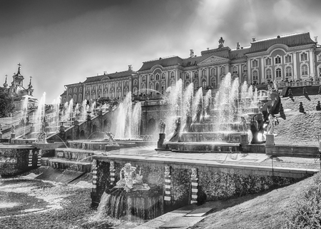 peter the great: PETERHOF, RUSSIA - AUGUST 28: Scenic view of the Grand Cascade,  Peterhof Palace, Russia, on August 28, 2016. Editorial
