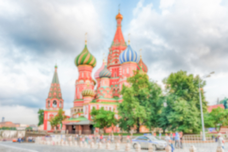 Defocused background of St. Basil's Cathedral in central Moscow, Russia. Intentionally blurred post production for bokeh effect Фото со стока - 70366451