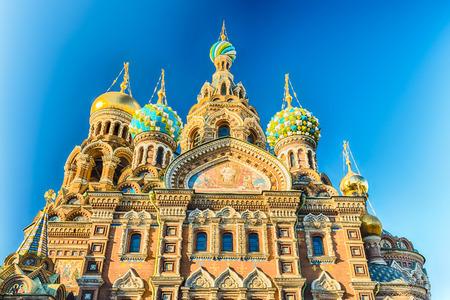 Szenische Ansicht der Kirche des Erlösers auf dem Blut, Wahrzeichen in St. Petersburg, Russland