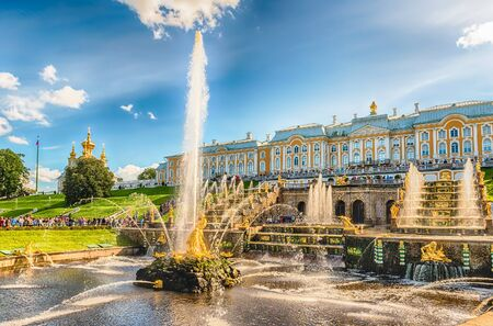 PETERHOF, RUSSIA - AUGUST 28: Scenic view of the Grand Cascade,  Peterhof Palace, Russia, on August 28, 2016. The Peterhof Palace and Gardens complex