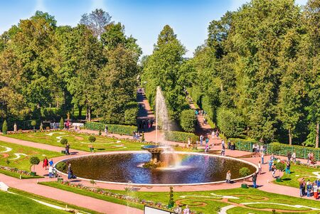 PETERHOF, RUSSIA - AUGUST 28: View of the Peterhof Palace and Gardens, Russia, on August 28, 2016.