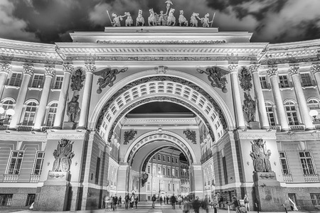 ST. PETERSBURG, RUSSIA - AUGUST 28: The Arch of the General Staff Building, St. Petersburg, Russia on August 28, 2016. The building is located in Palace Square, in front of the Hermitage Museum Editorial