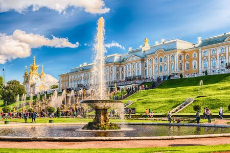 peter the great: PETERHOF, RUSSIA - AUGUST 28: Scenic view of the Grand Cascade,  Peterhof Palace, Russia, on August 28, 2016. The Peterhof Palace and Gardens complex
