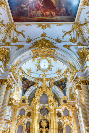 ST. PETERSBURG, RUSSIA - AUGUST 27: The Grand Church of the Winter Palace, interior of the State Hermitage (Winter Palace) in St. Petersburg, Russia, August 27, 2016. Hermitage is one of the largest and oldest museums of art and culture in the world