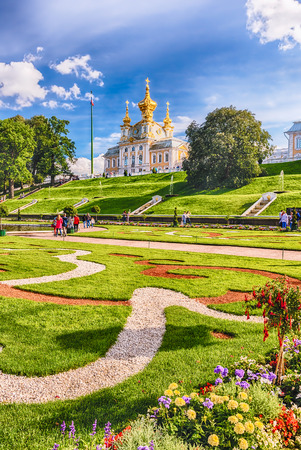 PETERHOF, RUSSIA - AUGUST 28: View of the Church of Grand Palace in Peterhof, Russia, on August 28, 2016. The Peterhof Palace and Gardens complex is recognized as a UNESCO World Heritage Site