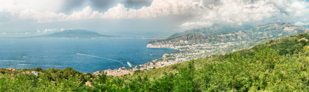 Panoramic aerial view of Mount Vesuvius and the town of Sorrento, Bay of Naples, Italy