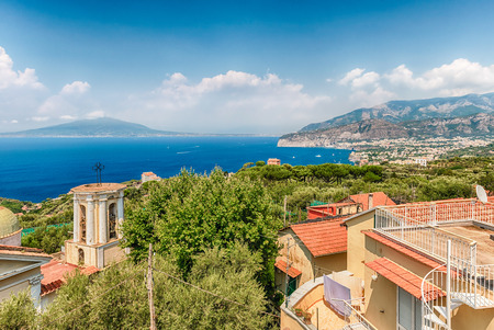 Aerial view of Mount Vesuvius and the town of Sorrento, Bay of Naples, Italy