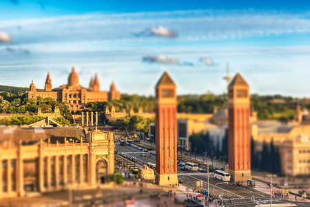 Aerial view of Placa dEspanya, the Venetian Towers and the National Art Museum. Tilt-shift effect applied. The square, at the foot of Montjuic, is a major landmark in Barcelona, Catalonia, Spain