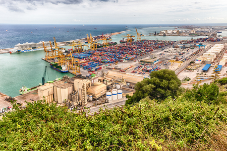 montjuic: Aerial view over the commercial and industrial Port of Barcelona, Catalonia, Spain