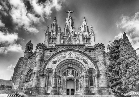 Expiatory Church of the Sacred Heart of Jesus, a Roman Catholic church and minor basilica located on the summit of Mount Tibidabo in Barcelona, Catalonia, Spain Stock Photo