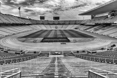montjuic: BARCELONA - AUGUST 11: Interior view of the Olympic stadium Lluis Companys, in the Olympic Ring complex located on Montjuic hill, Barcelona, Catalonia, Spain, as seen on August 11, 2017 Editorial