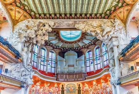 BARCELONA - AUGUST 8: Pipe organ of Palau de la Musica Catalana, modernist Concert Hall designed by the architect Lluis Domenech i Montaner in Barcelona, Catalonia, Spain, on August 8, 2017 Editorial