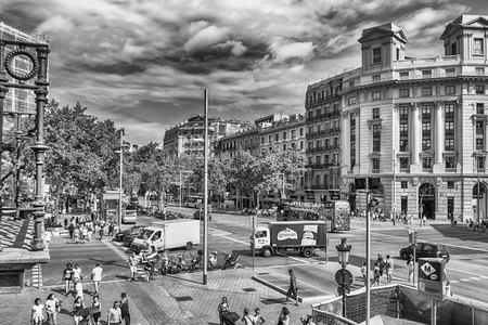 BARCELONA - AUGUST 9: Aerial view of Passeig de Gracia from Casa Batllo in the Eixample district of Barcelona, Catalonia, Spain, on August 9, 2017