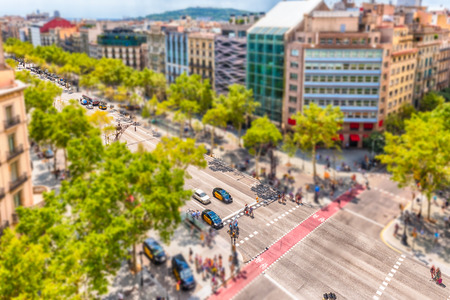 Aerial view of Passeig de Gracia in the Eixample district of Barcelona, Catalonia, Spain. Tilt-shift effect applied Stock Photo