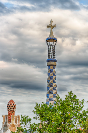 Modernist architecture at the entrance pavillions of Park Guell, Barcelona, Catalonia, Spain