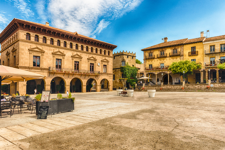 montjuic: Plaza Mayor, main square in Poble Espanyol, an open-air architectural museum on the Montjuic hill in Barcelona, Catalonia, Spain