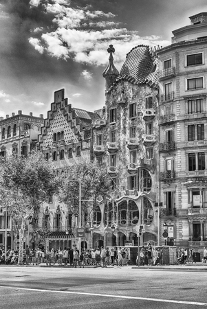 BARCELONA - AUGUST 9: Facades of the modernist masterpieces Casa Batllo and Casa Amatller, iconic landmarks in Passeig de Gracia, Eixample district of Barcelona, Catalonia, Spain, on August 9, 2017 Editorial