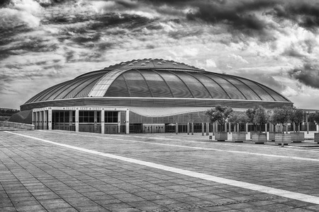 BARCELONA - AUGUST 11: Palau Sant Jordi (English: St. Georges Palace) is an indoor sporting arena in the Olympic Ring complex on Montjuic hill, Barcelona, Catalonia, Spain, as seen on August 11, 2017
