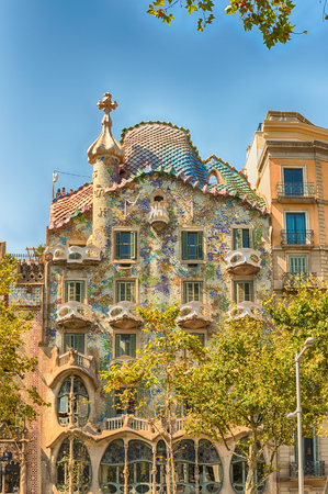 BARCELONA - AUGUST 9: Facade of the modernist masterpiece Casa Batllo, renowned building designed by Antoni Gaudi and iconic landmark in Barcelona, Catalonia, Spain, on August 9, 2017